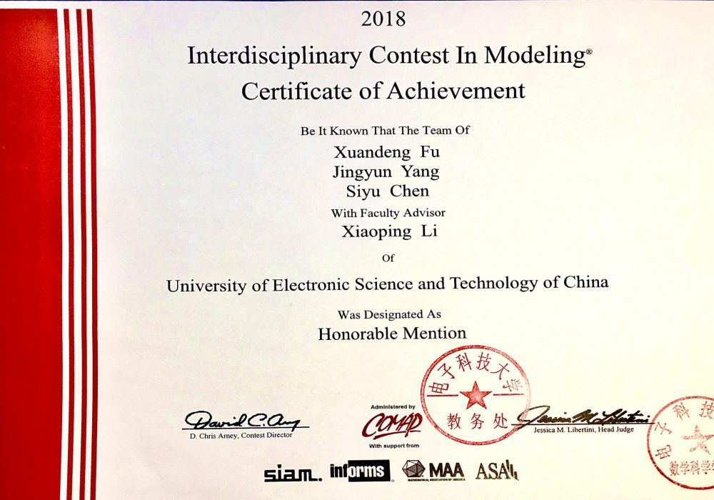 Honorable Mention, MCM/ICM (2018)