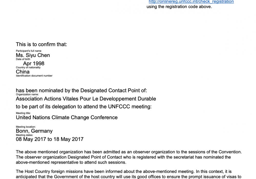 Delegate to UNFCCC Conference (2017)