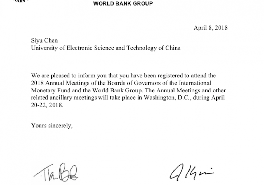 Delegate to WBG / IMF Spring Meeting (2018)